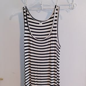 Long striped maxi dress with color block